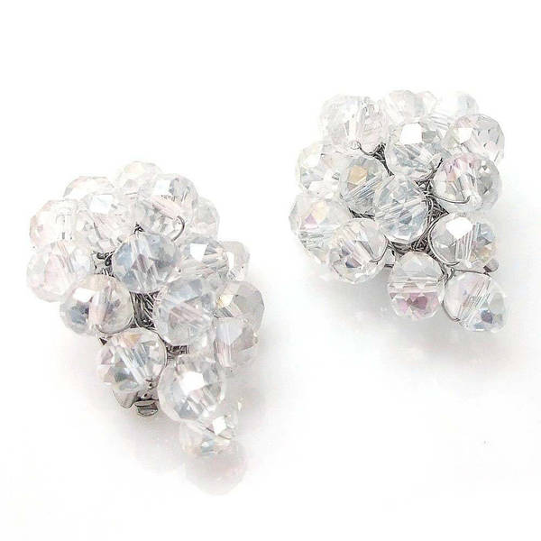 Handmade Midnight Forest Black Crystals Grape Clip On Earrings (Thailand)