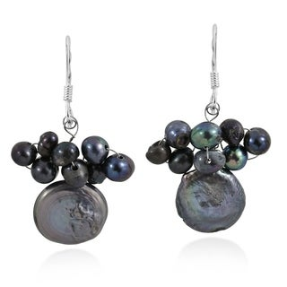 Black Pearl Disco Cluster Drop .925 Silver Earrings (Thailand)