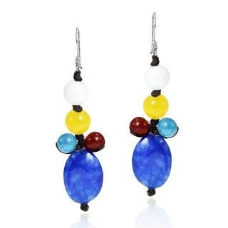 Colorful Beauty Blue Drop Mix Stone Handmade Earrings (Thailand)
