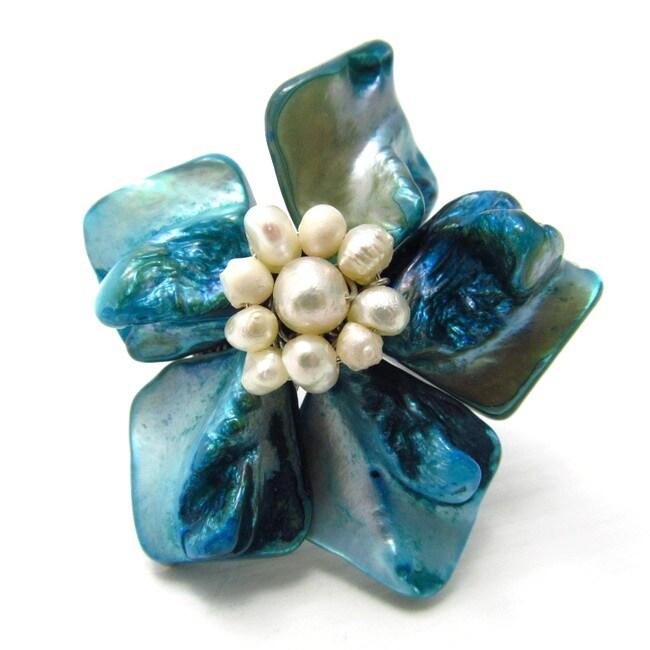 Stingray Leather Blue Azalea Shell Floral Free Size Ring (Thailand)