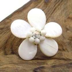 White Daisy Mother of Pearl Floral Free Size Ring (Thailand)