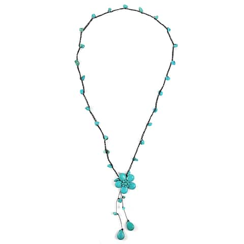 Handmade Awesome Extra Long Turquoise Flower Wax Rope Necklace (Thailand)