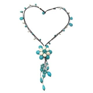 Handmade Floral Tassel Blue-White Turquoise Stone Cotton Rope Necklace (Thailand)
