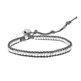 Handmade Silver or Brass Bead Triple Wrap Leather Bracelet (Thailand)