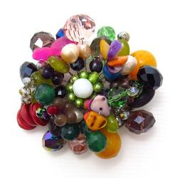 Multicolor Fusion Mix Stone Floral Pin-Brooch (Thailand)