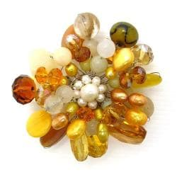 Yellow Fusion Quartz-Mother of Pearl-Pearl Floral Pin-Brooch (Thailand)