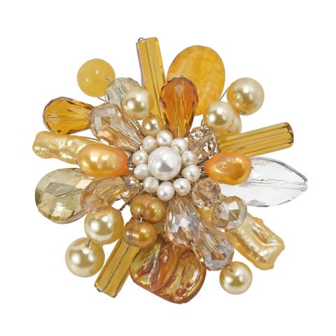 Handmade Yellow Fusion Quartz-Mother of Pearl-Pearl Floral Pin-Brooch (Thailand)