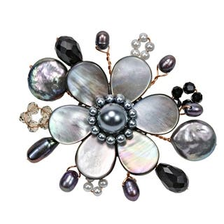 Handmade Cute Mother of Pearl-Freshwater Black Pearl Floral Ray Pin (Thailand) https://ak1.ostkcdn.com/images/products/6668783/P14226926.jpg?impolicy=medium