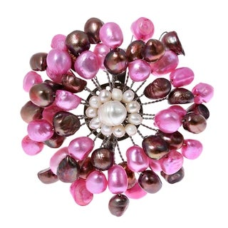 Handmade Freshwater Dyed Pink Pearls Retro Floral Pin-Brooch (Thailand)