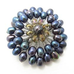 Freshwater Black Pearl Embellished Sunflower Floral Pin/Brooch (Thailand)