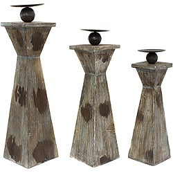 Kingston Weathered Wood Pillar Candle Holders (Set of 3)