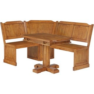 Distressed Oak Corner Dining Bench And Pedestal Dining Table Set Overstock 6668809