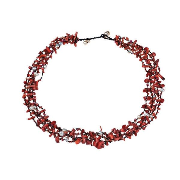 Handmade Royal Red Five-Layer Beauty Cotton Rope Necklace (Thailand)