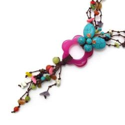 Handmade Blue Multicolor Butterfly-Flower Harmony Multi Strand Necklace (Thailand)