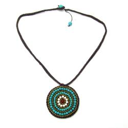 Mosaic Medallion Turquoise Embroidered Cotton Rope Necklace (Thailand)