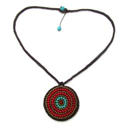 Mosaic Medallion Turquoise-Coral Embroidered Cotton Rope Necklace (Thailand)