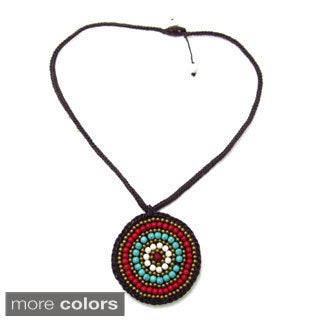 Handmade Mosaic Medallion Blue/White Turquoise Embroidered Cotton Rope Necklace (Thailand)