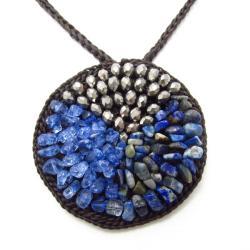 Handmade Nature's Medallion Blue Sodalite-Crystal-Glass Trio Necklace (Thailand) - Thumbnail 1