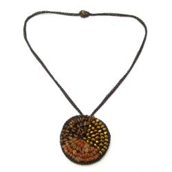 Nature's Medallion Carnelian-Crystal-Tiger's Eye Trio Necklace (Thailand)