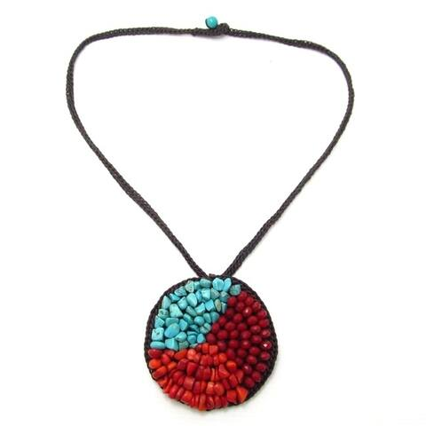 Handmade Medallion Turquoise-Synthetic Coral-Crystal Trio Necklace