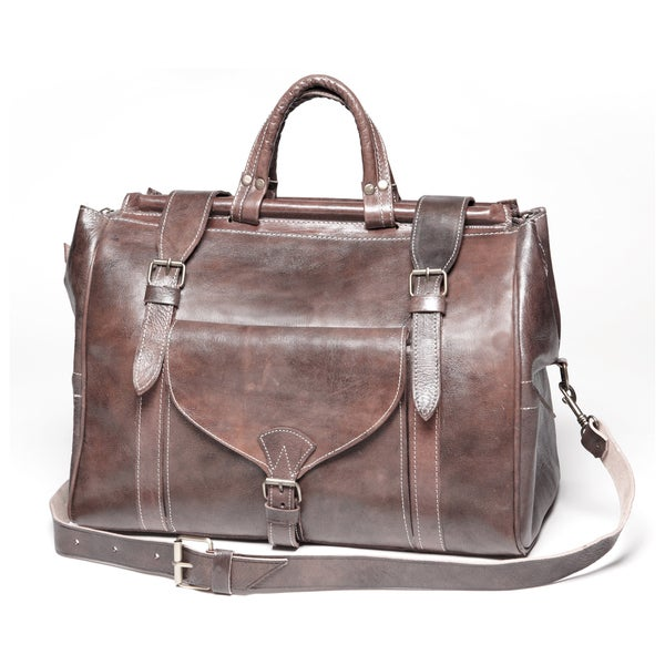 Chestnut Brown Large Leather Travel Bag (Morocco)