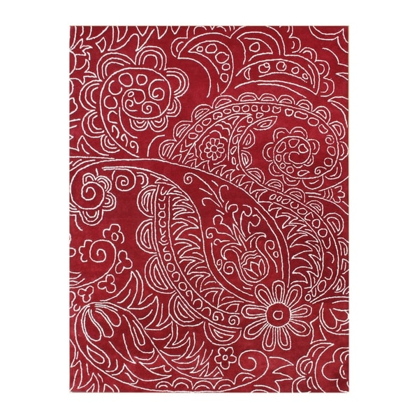 Handmade Sabrina Red New Zealand Wool Rug - 8' x 10'