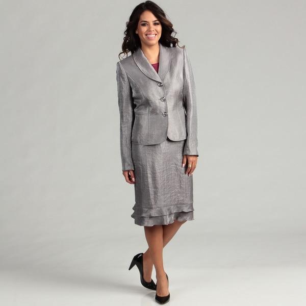 Kasper Women's 3-button Satin Skirt Suit