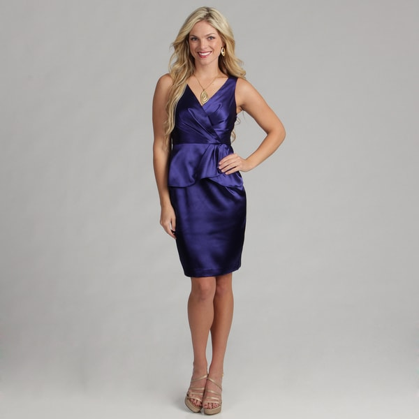 London Times Women's Sleeveless Peplum Sheath Dress