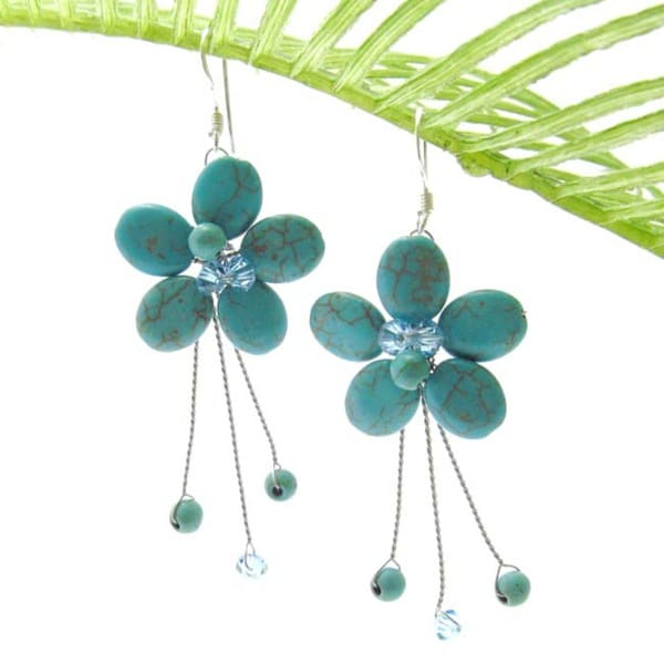 Sweet Green Turquoise Flower-Sticks Stone .925 Silver Earrings (Thailand)