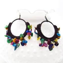 Multicolor Mother of Pearl Chandelier Hoop Earrings (Thailand)