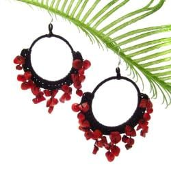 Red Coral Stone Chandelier Hoop Earrings (Thailand)