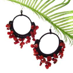 Handmade Red Coral Stone Chandelier Hoop Earrings (Thailand)