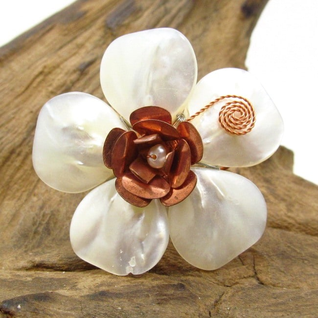 Handmade Flourishing Copper Rose Mother of Pearl Free Size Ring (Thailand)