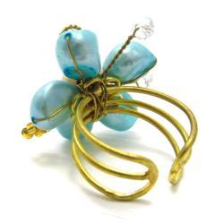 Blue Green Crystal Flower Adjustable Handmade Ring (Thailand) - Thumbnail 1