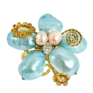 Handmade Blue Green Crystal Flower Adjustable Handmade Ring (Thailand)