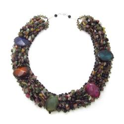 Tribal Passion Oval Agate Mix Stone Cluster Necklace (Thailand)