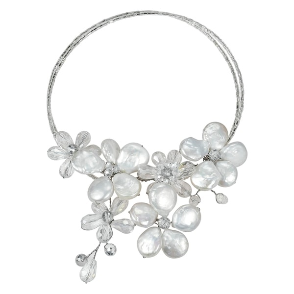 Handmade Coin Freshwater Pearl-Crystal Floral Paradise Cluster Choker