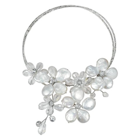 Handmade Coin Freshwater Pearl-Crystal Floral Paradise Cluster Choker (Thailand)