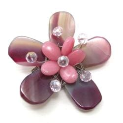 Pretty Pink Daisy Agate Stone Floral Handmade Pin/Brooch (Thailand)