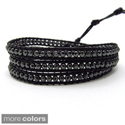 Handmade Facets Hematite/ Amethyst Genuine Black Leather 3-Wrap Bracelet (Thailand)