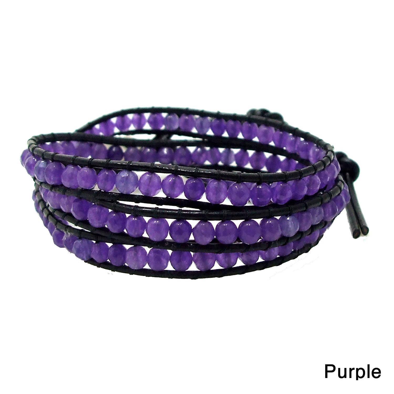 Purple Facets Amethyst Stone Genuine Black Leather 3-Wrap Bracelet