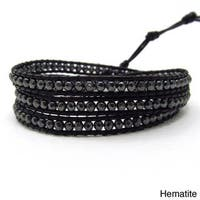 Handmade Facets Hematite/ Amethyst Genuine Black Leather 3-Wrap Bracelet (Thailand)