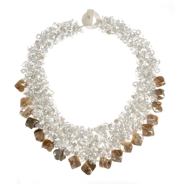 Clear Quartz and Seashells Cluster Stone Toggle Necklace (Philippines)