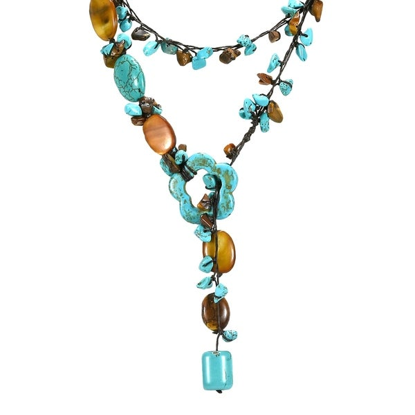 Handmade Lariat Glam Turquoise Tiger's Eye Wrap Around Necklace - Blue