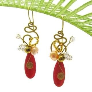 Handmade Teardrop Glam Red-Orange Howlite Brass Earrings (Thailand)