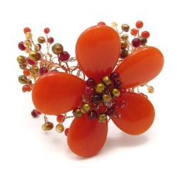 Handmade Floral Secrets Orange Daisy Garland Agate Net Bracelet (Thailand) - Thumbnail 1