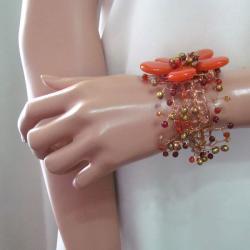 Handmade Floral Secrets Orange Daisy Garland Agate Net Bracelet (Thailand) - Thumbnail 2