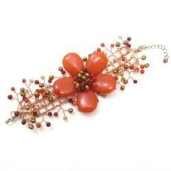 Floral Secrets Orange Daisy Garland Agate Net Bracelet (Thailand)