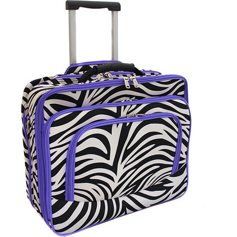World Traveler Purple Trim Zebra Fashion Print Women's Rolling 17-inch Laptop Case