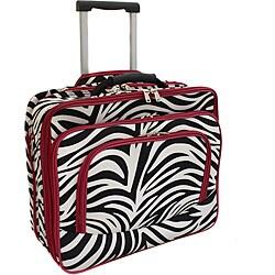 World Traveler Red Trim Zebra Fashion Print Women's Rolling 17-inch Laptop Case